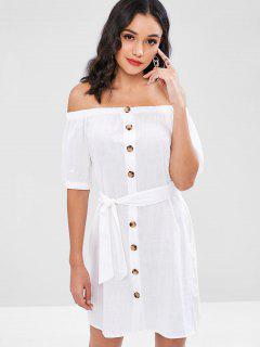 Off Shoulder Buttoned Belted Dress - White L