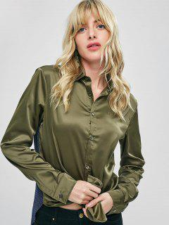 Polka Dot Panel Satin Shirt - Army Green L