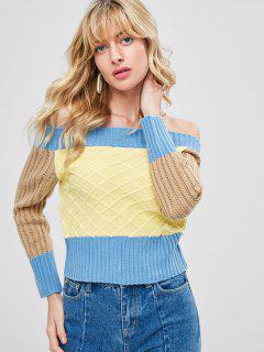 Color Block Off The Shoulder Sweater - Pergamino Xl