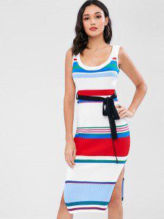 Striped Knit Tank Dress - Multi
