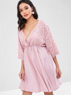 Broderie Anglaise Surplice Dress - Pink M