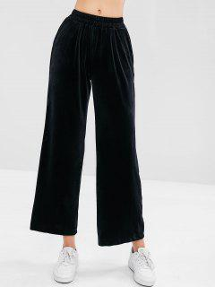 Wide Leg Velvet Pants - Black M