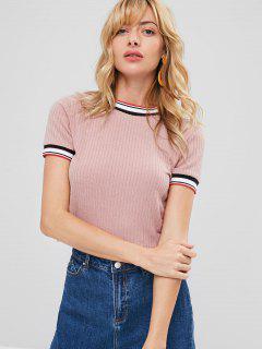 Striped Trim Knit T-shirt - Rosa Xl