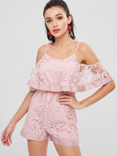 Embroidered Cold Shoulder Romper - Light Pink M