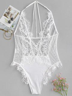 Snap Crotch Sheer Lace Plunge Teddy Bodysuit - White S