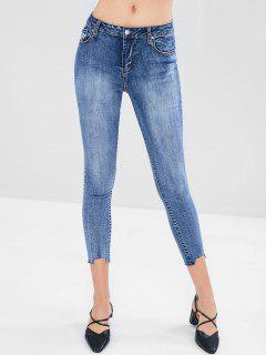 Fading Skinny Ankle Jeans - Blue S