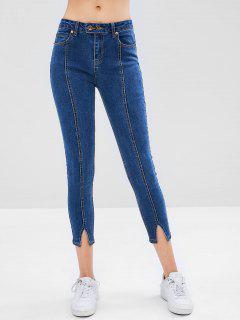 Contrasting Topstitching Split Hem Skinny Jeans - Blue M