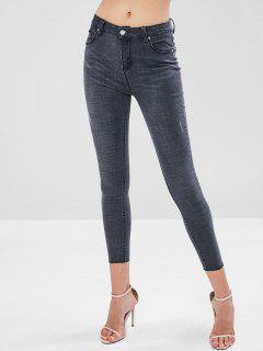 Distressed High Waisted Skinny Jeans - Dark Gray M