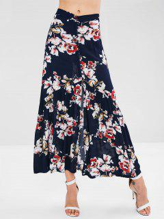 Floral Button Through Maxi Skirt - Deep Blue S