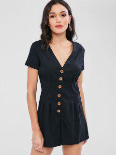 Contrasting Button Front Pleated Romper - Black M