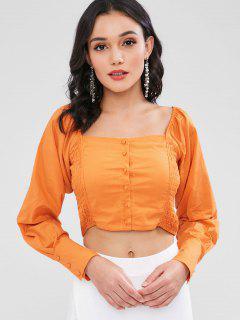 Quadratisches Neck Long Sleeve Smocked Crop Top - Kürbis Orange L