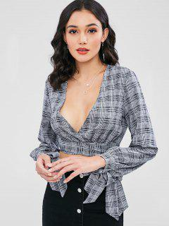 Long Sleeve Checked Wrap Tie Blouse - Gray L