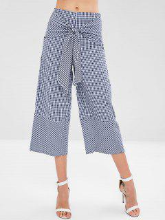 Wide Leg Gingham Knot Pants - Multi L