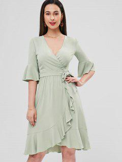 Bell Cuffs Ruffle Midi Faux Wrap Dress - Frog Green Xl