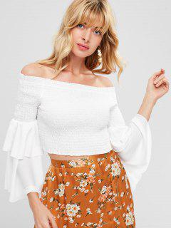 Smoked Flare Sleeve Schulterfrei Top - Weiß L
