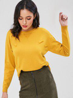 Distressed Crew Neck Sweater - Golden Brown