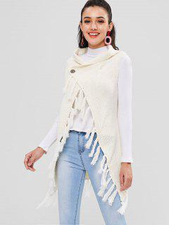 Sleeveless Tassel Longline Cardigan - Warm White
