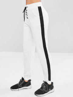 Contrast Lace-up Athletic Jogger Pants - White L
