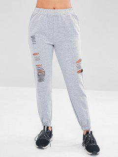 Destroyed Athletic Jogger Sweat Pants - Light Gray L