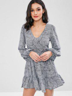 Printed Long Sleeve Skater Dress - Gray S