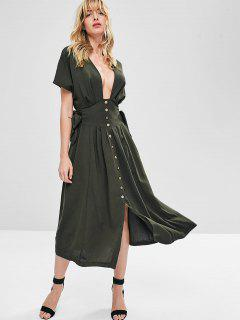 Knotted Button Up Midi Dress - Army Green L