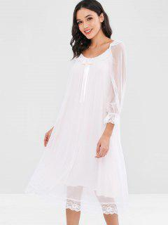 Mesh Midi Lace Panel Nightdress - Pearl L