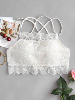 Padded Floral Lace Strappy Bralette - White