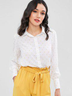 Chemises à Pois En Mousseline De Soie Manchette Boutonnée - Blanc M