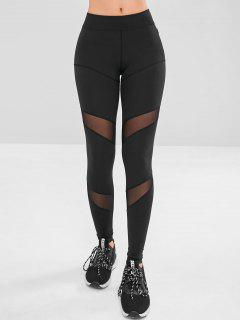 Mesh Panel Zip Pocket Gym Leggings - Black M