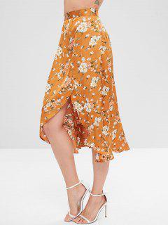 Floral Ruffles Asymmetrical Skirt - Caramel M