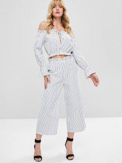 Stripes Off Shoulder Pants Set - White L