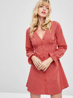 Plaid Buttoned Long Sleeve Dress - Lava Red M