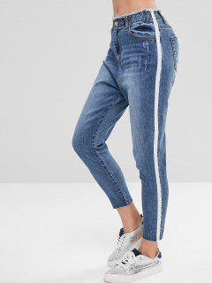 Side Stripe Distressed Mom Jeans - Blue L