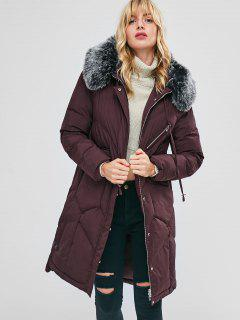 Faux Fur Hood Padded Parka Coat - Red Wine L