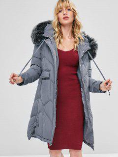 Faux Fur Hood Padded Parka Coat - Gray L