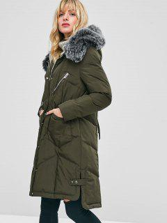 Faux Fur Hood Padded Parka Coat - Army Green M
