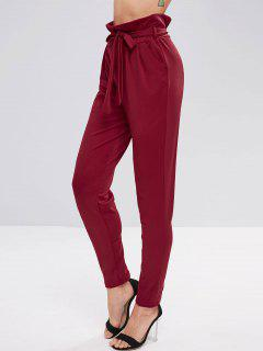 Ruffle Belted Tapered Pants - Red Wine L