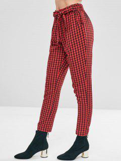 High Waisted Gingham Paper Bag Pants - Red Wine M