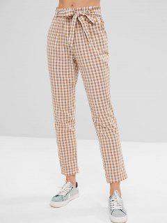 High Waisted Gingham Paper Bag Pants - Camel Brown L