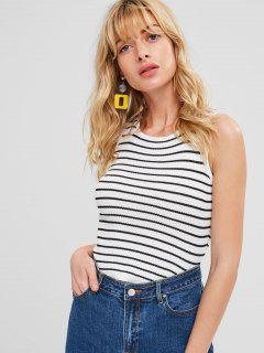 Striped Knit Tank Top - White