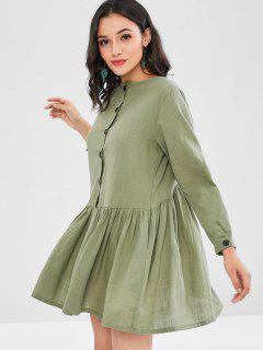Button Embellished Smock Dress - Sea Green S