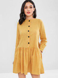 Button Embellished Smock Dress - Golden Brown L