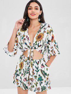 Side Pockets Floral Tie Front Flutter Romper - White M