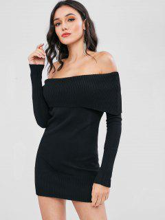 Off The Shoulder Overlay Sweater Dress - Black