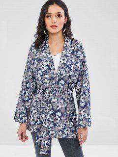 Floral Tie Belt Kimono Blazer - Multi L