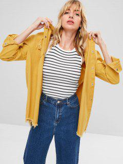 Snap Button Frayed Hem Jacket - Goldenrod