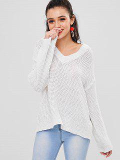 Openwork Drop Shoulder Sweater - Warm White M