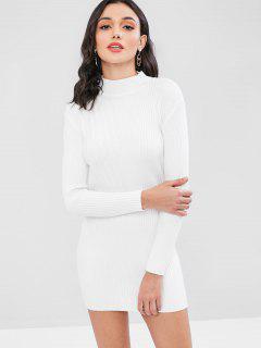 Ribbed Mock Neck Sweater Dress - White