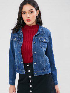 Ripped Button Up Denim Jacket - Denim Dark Blue M
