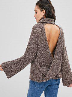 Chunky Knit Open Back Sweater - Deep Brown